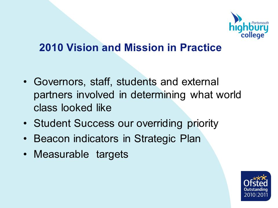 2010 Vision and Mission in Practice Governors, staff, students and external partners involved in determining what world class looked like Student Success our overriding priority Beacon indicators in Strategic Plan Measurable targets