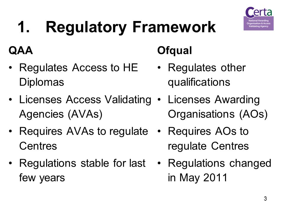 3 1.Regulatory Framework QAA Regulates Access to HE Diplomas Licenses Access Validating Agencies (AVAs) Requires AVAs to regulate Centres Regulations stable for last few years Ofqual Regulates other qualifications Licenses Awarding Organisations (AOs) Requires AOs to regulate Centres Regulations changed in May 2011