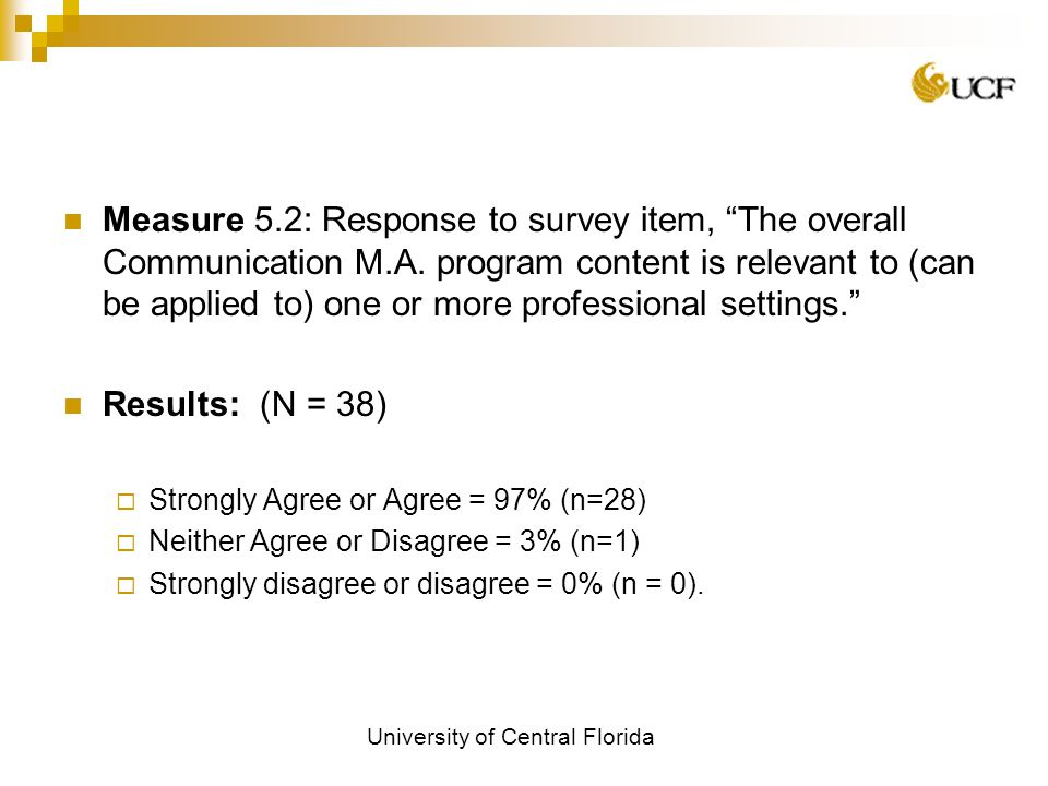 University of Central Florida Measure 5.2: Response to survey item, The overall Communication M.A.
