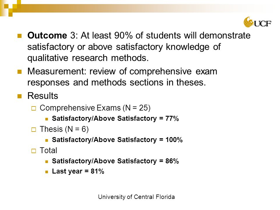 University of Central Florida Outcome 3: At least 90% of students will demonstrate satisfactory or above satisfactory knowledge of qualitative research methods.