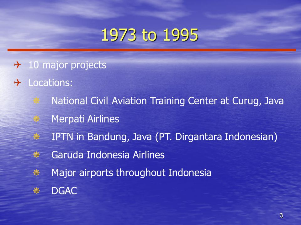 to 1995 Q10 major projects QLocations: ¯ National Civil Aviation Training Center at Curug, Java ¯ Merpati Airlines ¯ IPTN in Bandung, Java (PT.
