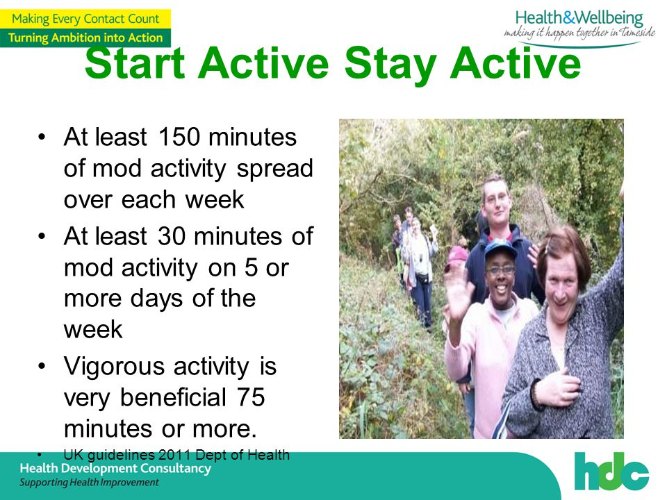 Start Active Stay Active At least 150 minutes of mod activity spread over each week At least 30 minutes of mod activity on 5 or more days of the week Vigorous activity is very beneficial 75 minutes or more.