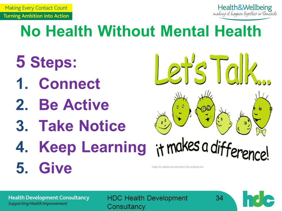 HDC Health Development Consultancy 34 No Health Without Mental Health 5 Steps: 1.Connect 2.Be Active 3.Take Notice 4.Keep Learning 5.Give