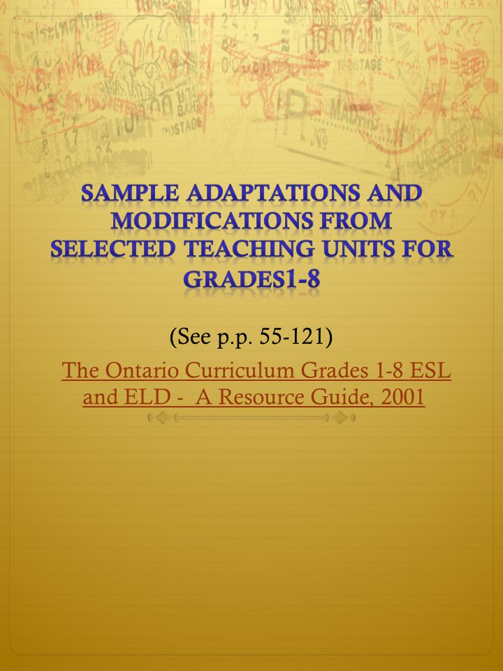 The Ontario Curriculum Grades 1-8 ESL and ELD - A Resource Guide, 2001The Ontario Curriculum Grades 1-8 ESL and ELD - A Resource Guide, 2001