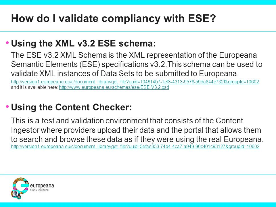 How do I validate compliancy with ESE.