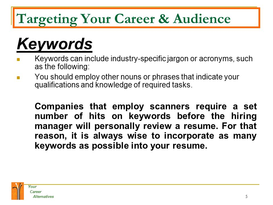 resume keywords list by industry
