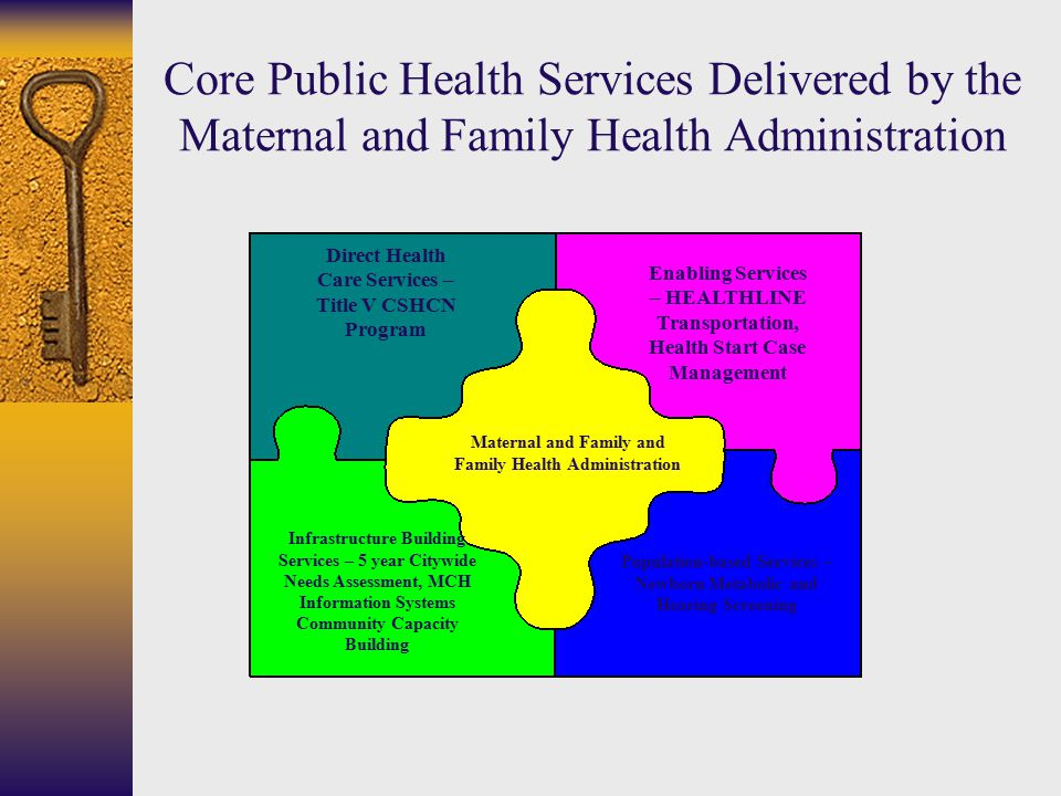 Direct Health Care Services – Title V CSHCN Program Enabling Services – HEALTHLINE Transportation, Health Start Case Management Infrastructure Building Services – 5 year Citywide Needs Assessment, MCH Information Systems Community Capacity Building Population-based Services – Newborn Metabolic and Hearing Screening Maternal and Family and Family Health Administration Core Public Health Services Delivered by the Maternal and Family Health Administration