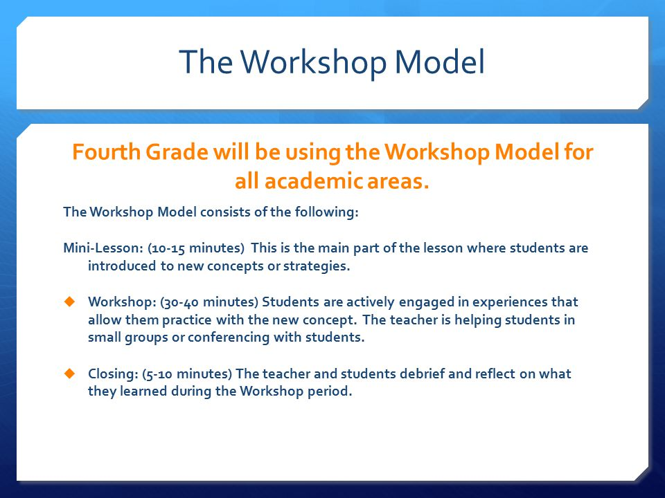 The Workshop Model Fourth Grade will be using the Workshop Model for all academic areas.