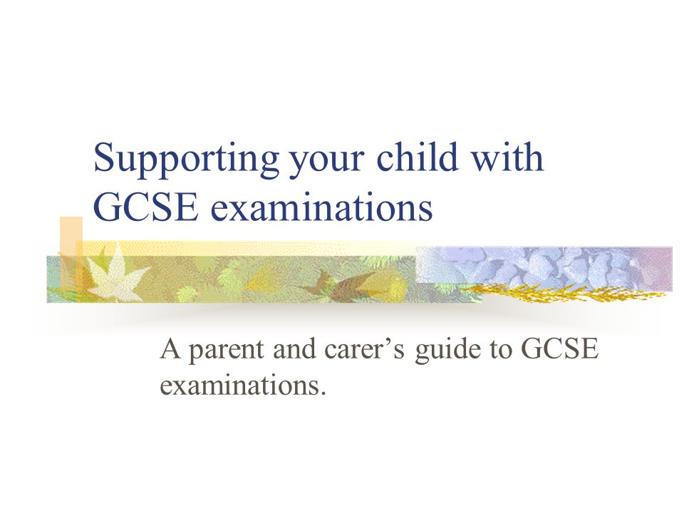 Supporting your child with GCSE examinations A parent and carer's guide to GCSE examinations.