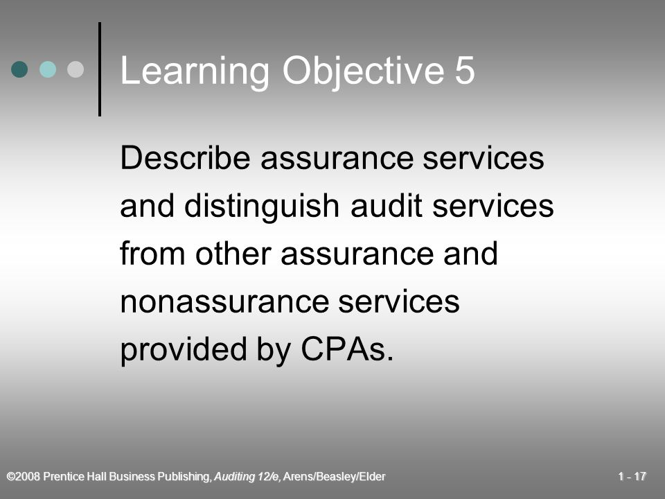 ©2008 Prentice Hall Business Publishing, Auditing 12/e, Arens/Beasley/Elder Learning Objective 5 Describe assurance services and distinguish audit services from other assurance and nonassurance services provided by CPAs.