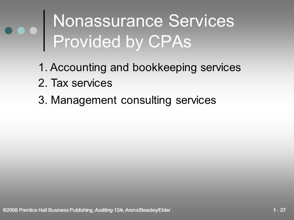 ©2008 Prentice Hall Business Publishing, Auditing 12/e, Arens/Beasley/Elder Nonassurance Services Provided by CPAs 1.