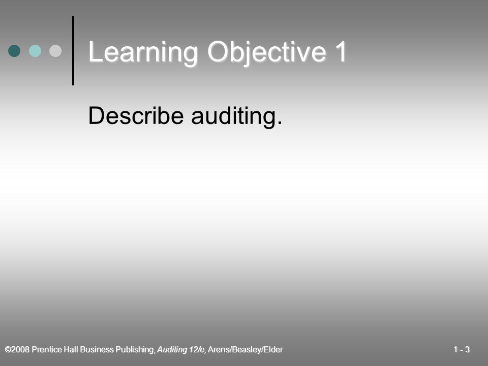©2008 Prentice Hall Business Publishing, Auditing 12/e, Arens/Beasley/Elder Learning Objective 1 Describe auditing.
