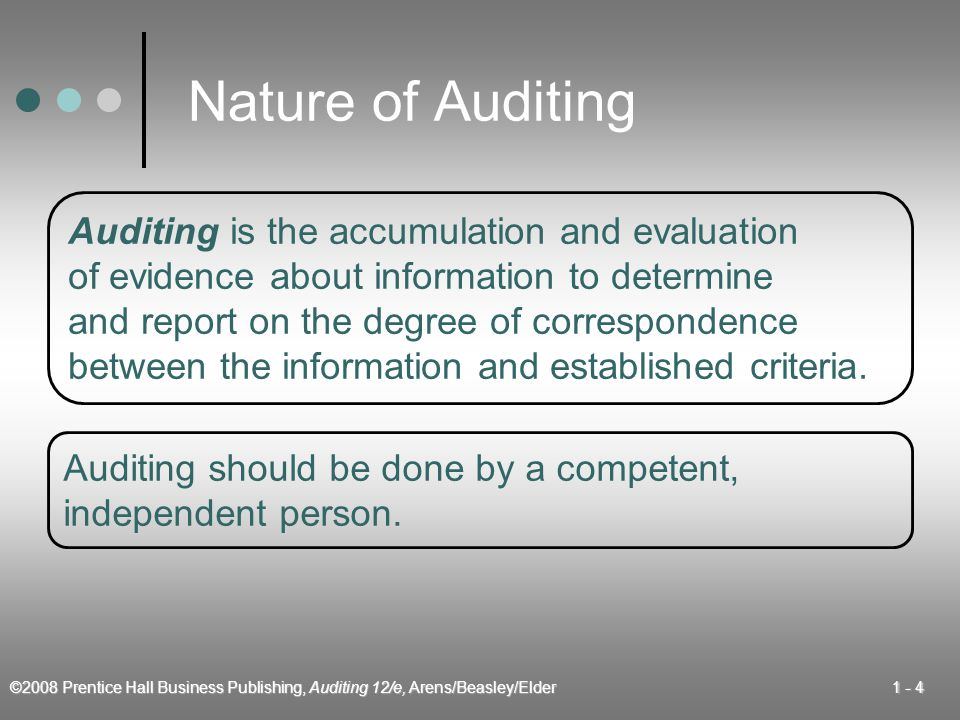 ©2008 Prentice Hall Business Publishing, Auditing 12/e, Arens/Beasley/Elder Nature of Auditing Auditing is the accumulation and evaluation of evidence about information to determine and report on the degree of correspondence between the information and established criteria.