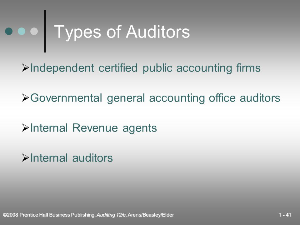 ©2008 Prentice Hall Business Publishing, Auditing 12/e, Arens/Beasley/Elder Types of Auditors  Internal auditors  Independent certified public accounting firms  Internal Revenue agents  Governmental general accounting office auditors