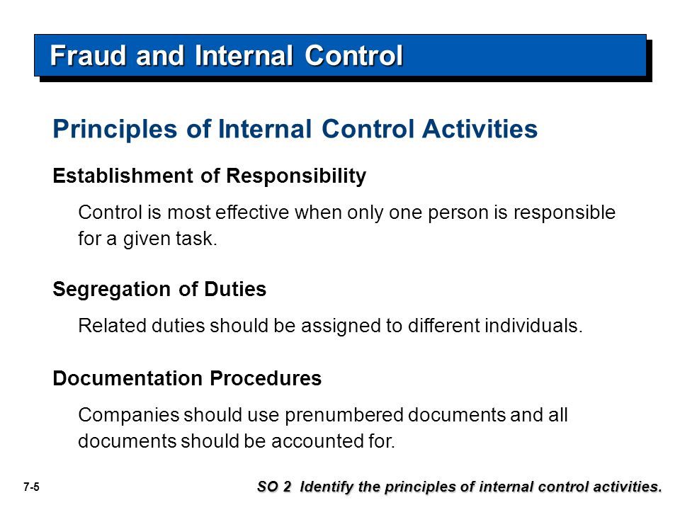 7-5 Establishment of Responsibility Control is most effective when only one person is responsible for a given task.
