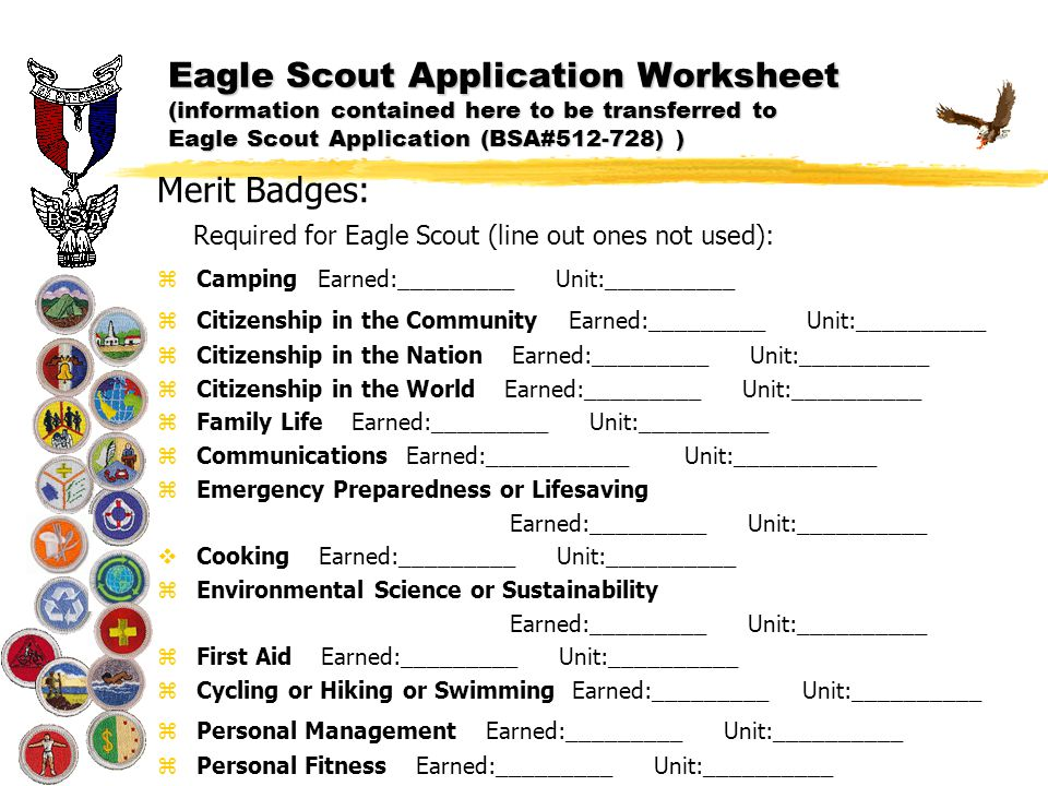 Worksheet Eagle Scout Requirements Worksheet eagle scout application worksheets information contained here worksheet to be transferred application