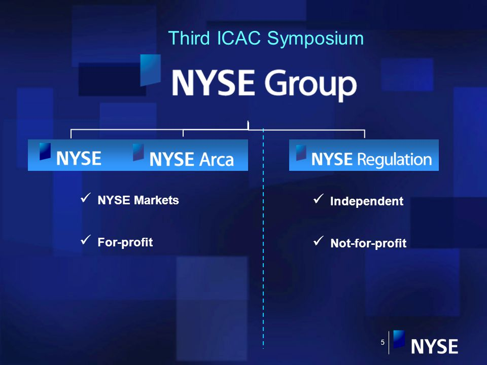 5 Third ICAC Symposium Independent Not-for-profit NYSE Markets For-profit