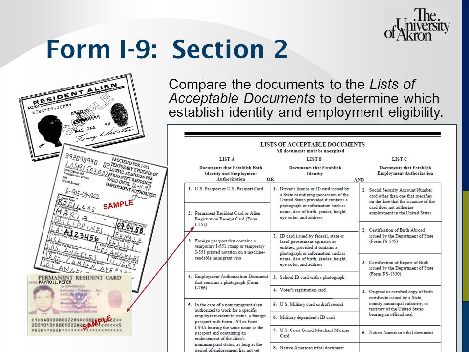 Compare the documents to the Lists of Acceptable Documents to determine which establish identity and employment eligibility.