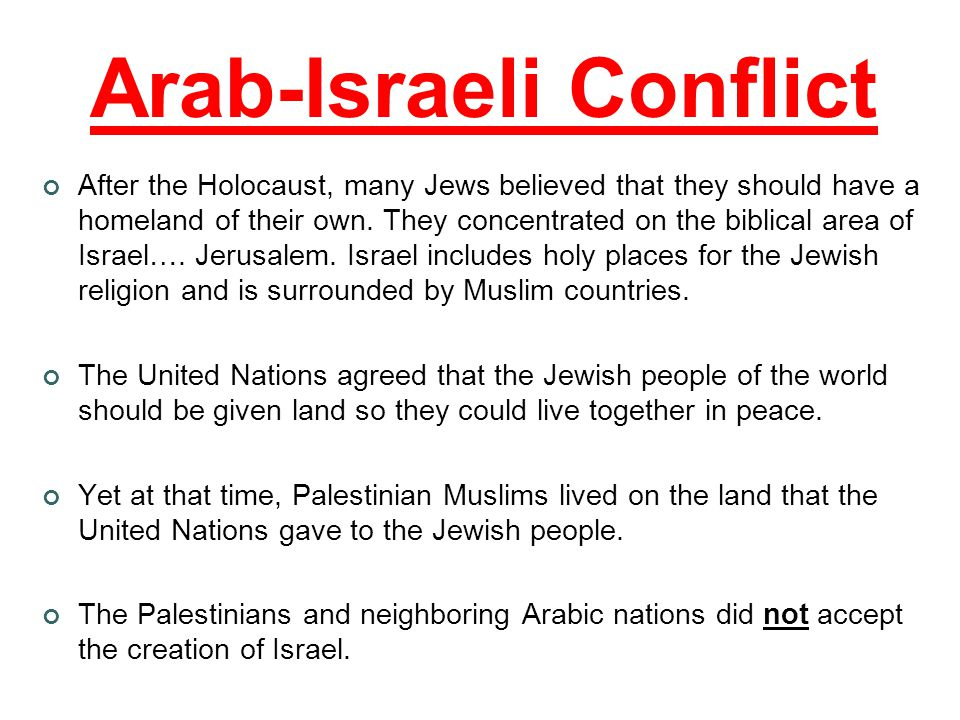 Arab-Israeli Conflict After the Holocaust, many Jews believed that they should have a homeland of their own.