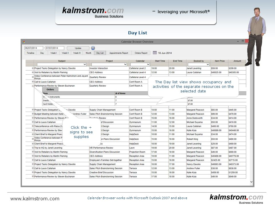 The Day list view shows occupancy and activities of the separate resources on the selected date Day List Click the + signs to see supplies Calendar Browser works with Microsoft Outlook 2007 and above