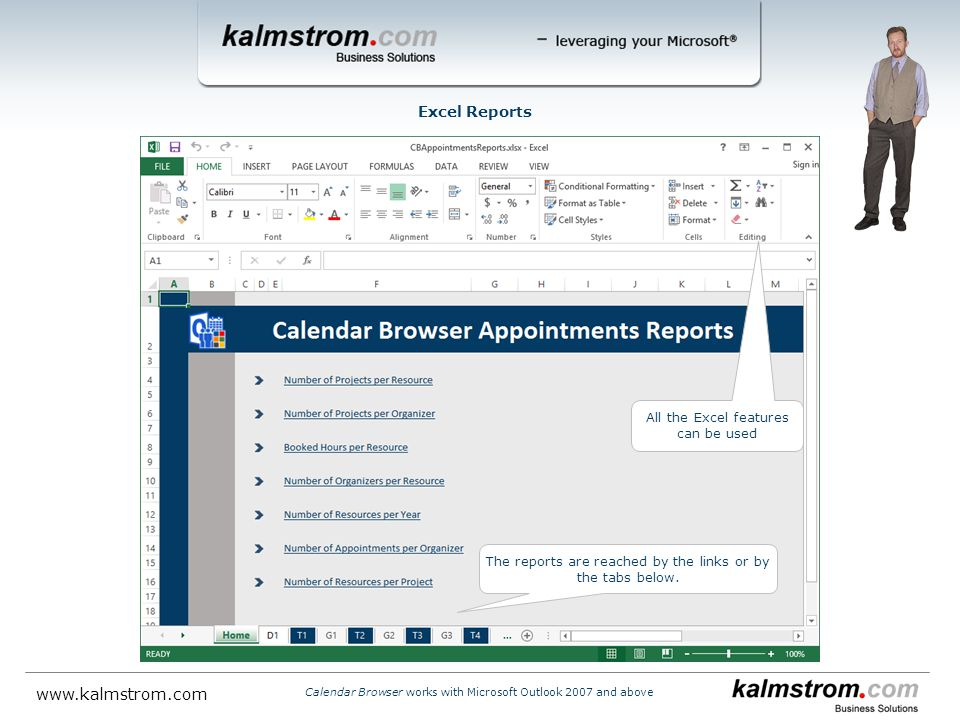 All the Excel features can be used The reports are reached by the links or by the tabs below.