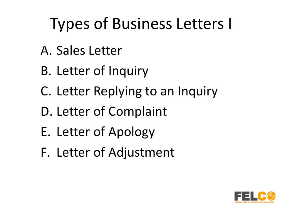 Lesson 3 Types of Business Letters HRTOD English Business Writing
