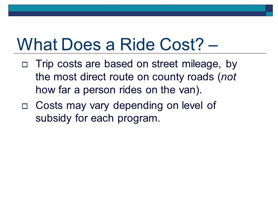 What Does a Ride Cost.