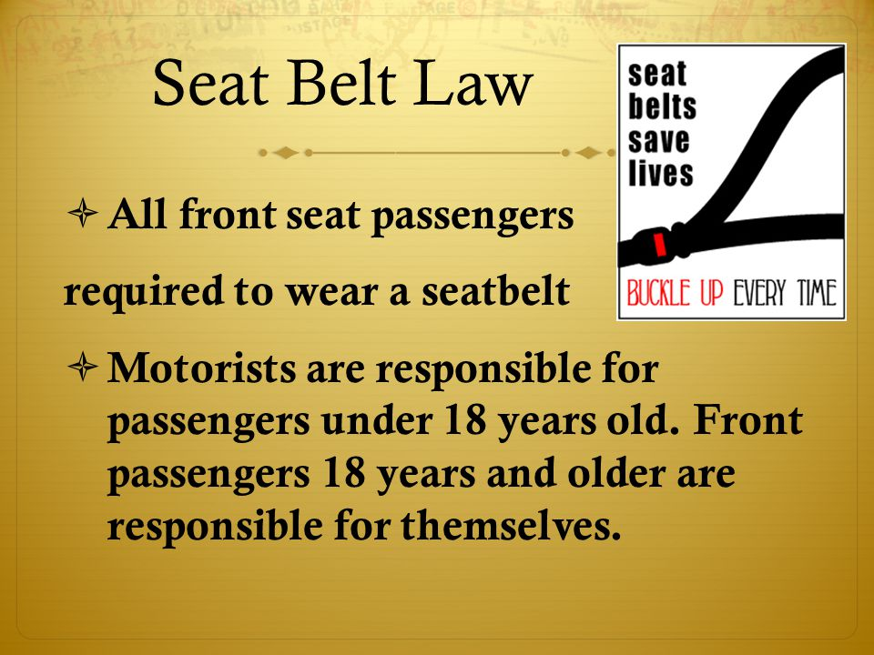 Seat Belt Law  All front seat passengers required to wear a seatbelt  Motorists are responsible for passengers under 18 years old.