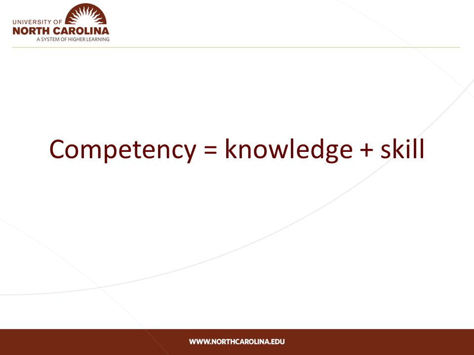 Competency = knowledge + skill