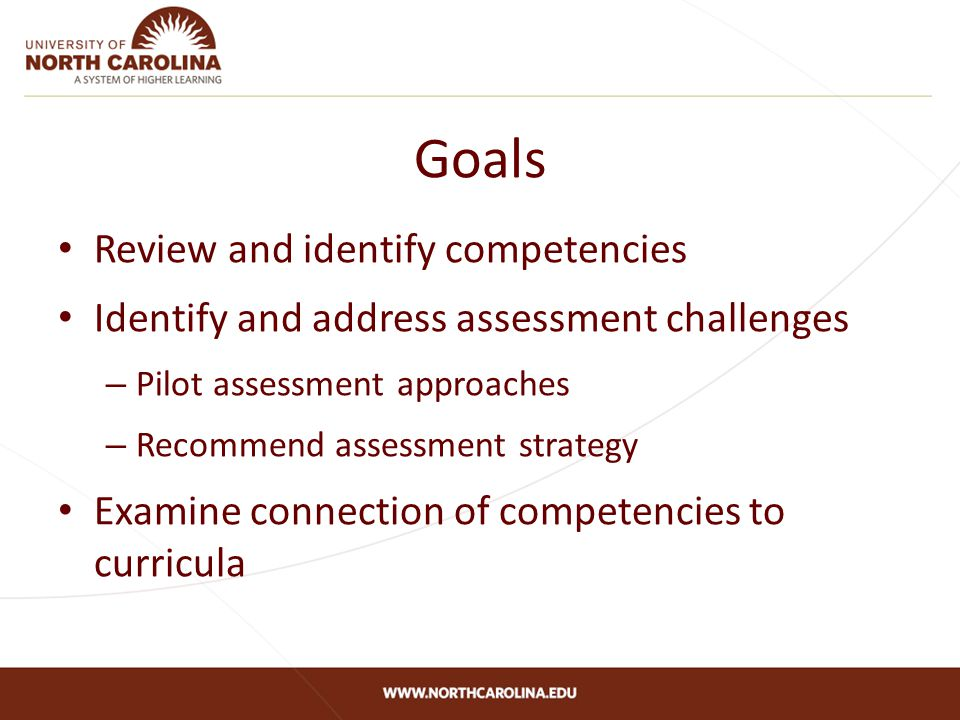 Goals Review and identify competencies Identify and address assessment challenges – Pilot assessment approaches – Recommend assessment strategy Examine connection of competencies to curricula
