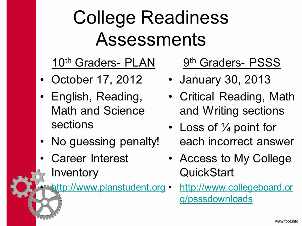 College Readiness Assessments 10 th Graders- PLAN October 17, 2012 English, Reading, Math and Science sections No guessing penalty.
