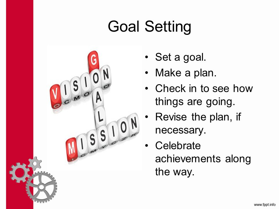 Goal Setting Set a goal. Make a plan. Check in to see how things are going.