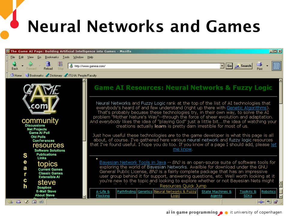 ai in game programming it university of copenhagen Neural Networks and Games