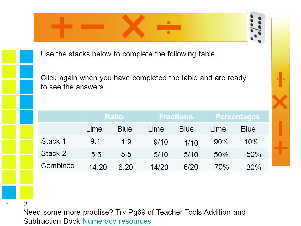 Use the stacks below to complete the following table.