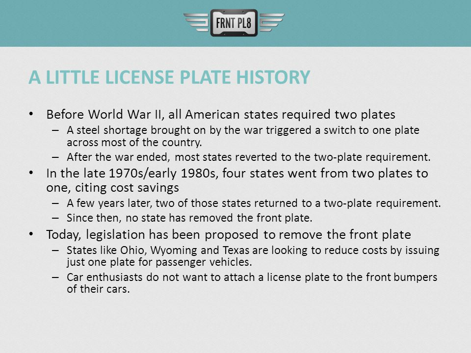 ONE PLATE OR TWO? The Benefits of Two License Plates and the Costs ...