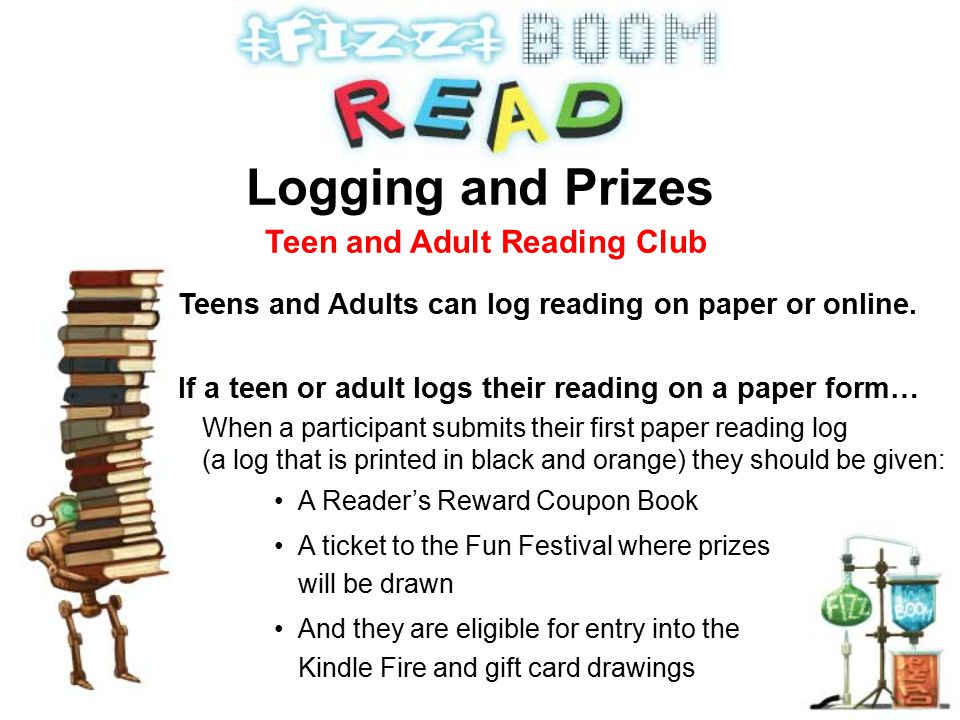 Teens and Adults can log reading on paper or online.
