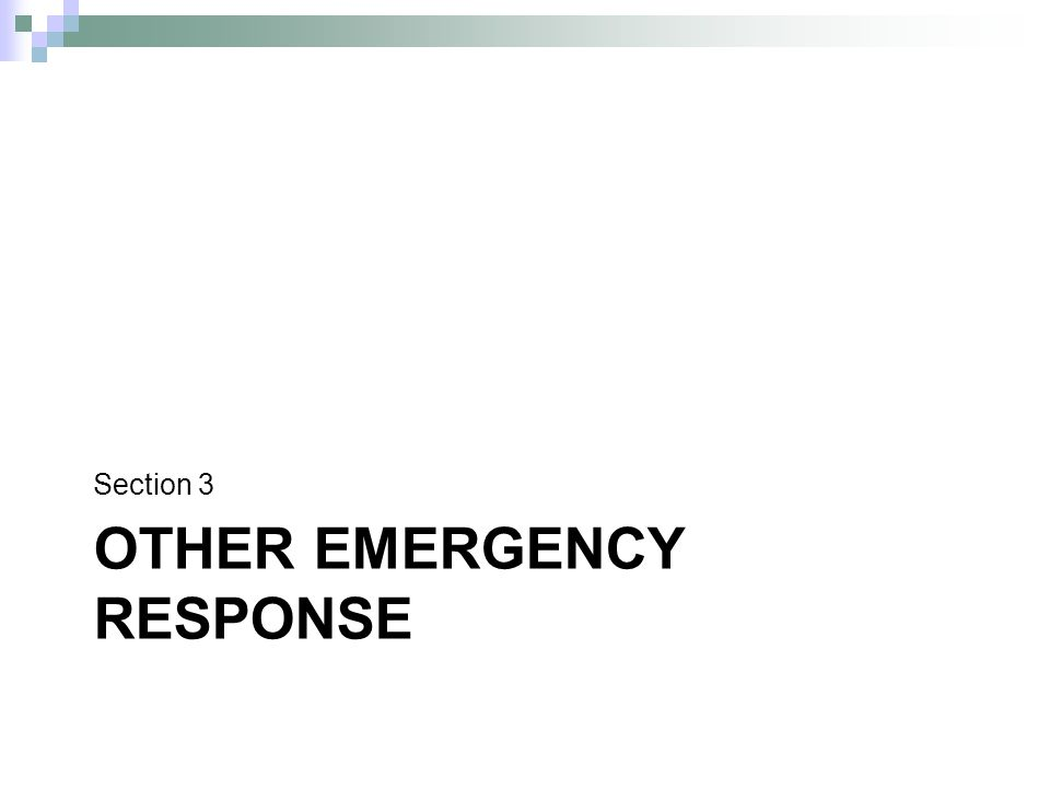 OTHER EMERGENCY RESPONSE Section 3