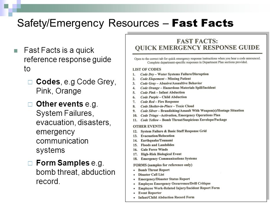 Safety/Emergency Resources – Fast Facts Fast Facts is a quick reference response guide to  Codes, e.g Code Grey, Pink, Orange  Other events e.g.
