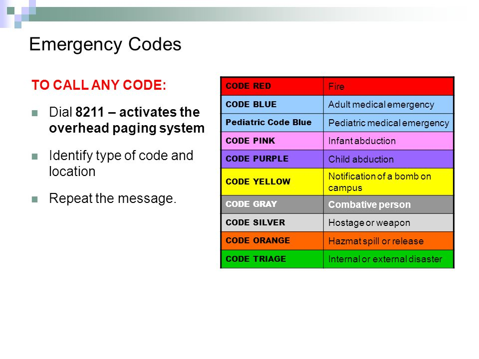 Emergency Codes TO CALL ANY CODE: Dial 8211 – activates the overhead paging system Identify type of code and location Repeat the message.