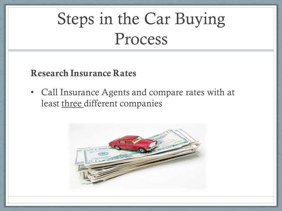 Steps in the Car Buying Process Research Insurance Rates Call Insurance Agents and compare rates with at least three different companies
