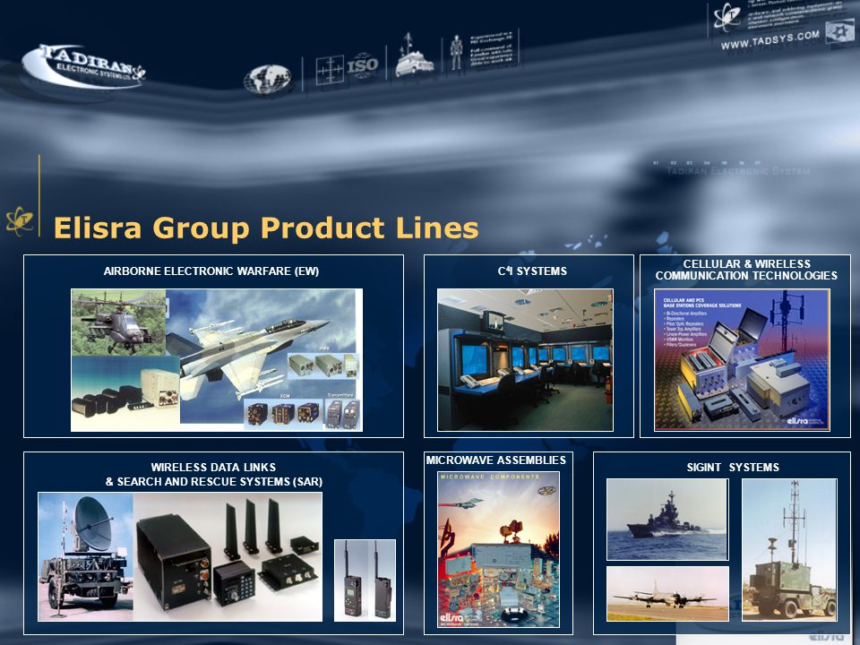 Elisra Group Product Lines AIRBORNE ELECTRONIC WARFARE (EW) CELLULAR & WIRELESS COMMUNICATION TECHNOLOGIES C 4 I SYSTEMS MICROWAVE ASSEMBLIES WIRELESS DATA LINKS & SEARCH AND RESCUE SYSTEMS (SAR) SIGINT SYSTEMS
