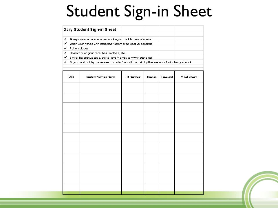 Student Sign In Sheet  Sample School Sign In Sheet