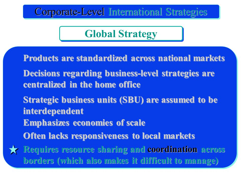 Products are standardized across national markets Decisions regarding business-level strategies are centralized in the home office Strategic business units (SBU) are assumed to be interdependent Emphasizes economies of scale Often lacks responsiveness to local markets Requires resource sharing and coordination across borders (which also makes it difficult to manage) International Corporate Strategy Corporate-Level International Strategies Global Strategy