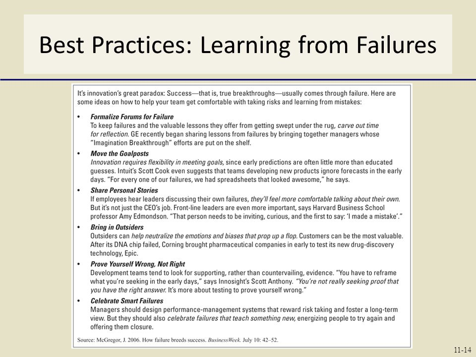 Best Practices: Learning from Failures 11-14
