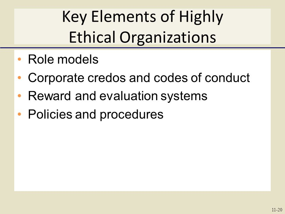 Key Elements of Highly Ethical Organizations Role models Corporate credos and codes of conduct Reward and evaluation systems Policies and procedures 11-20