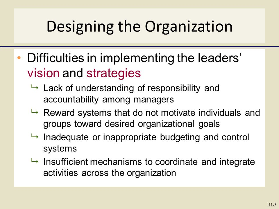 Designing the Organization Difficulties in implementing the leaders' vision and strategies  Lack of understanding of responsibility and accountability among managers  Reward systems that do not motivate individuals and groups toward desired organizational goals  Inadequate or inappropriate budgeting and control systems  Insufficient mechanisms to coordinate and integrate activities across the organization 11-5