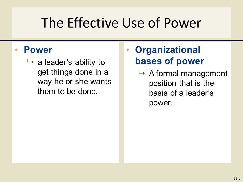 The Effective Use of Power Power  a leader's ability to get things done in a way he or she wants them to be done.