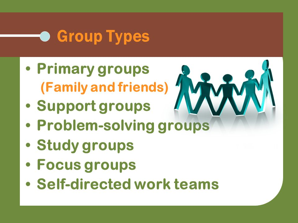 Group Types Primary groups (Family and friends) Support groups Problem-solving groups Study groups Focus groups Self-directed work teams