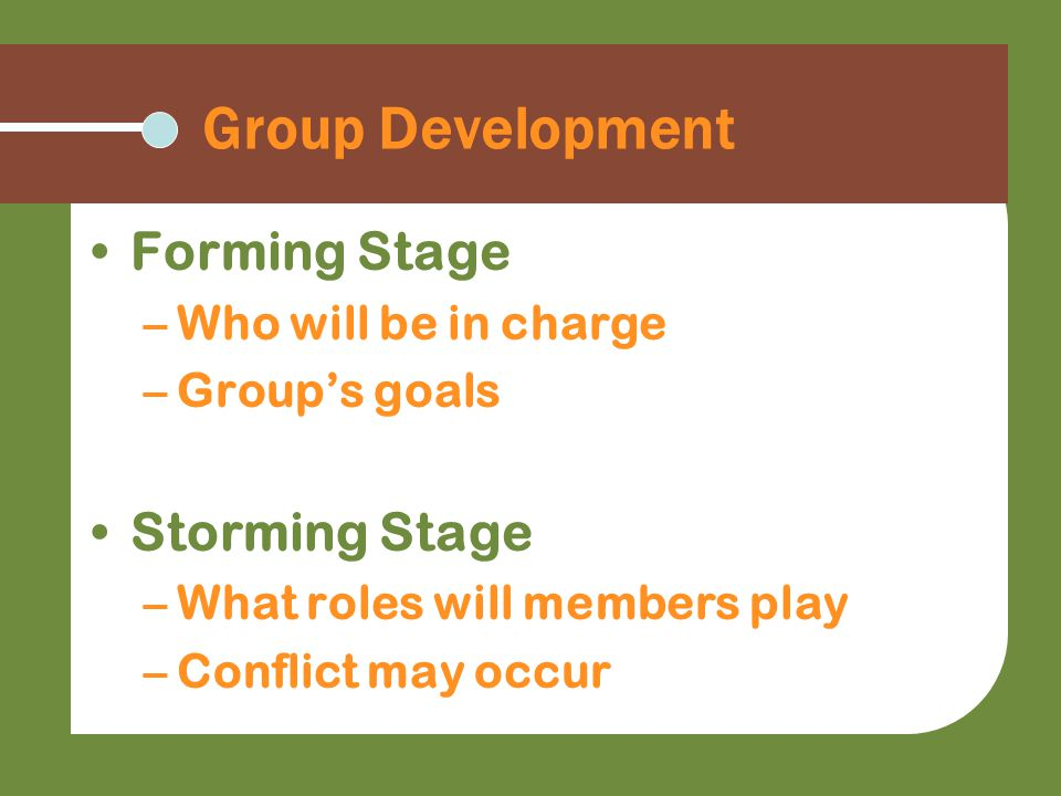 Group Development Forming Stage –Who will be in charge –Group's goals Storming Stage –What roles will members play –Conflict may occur