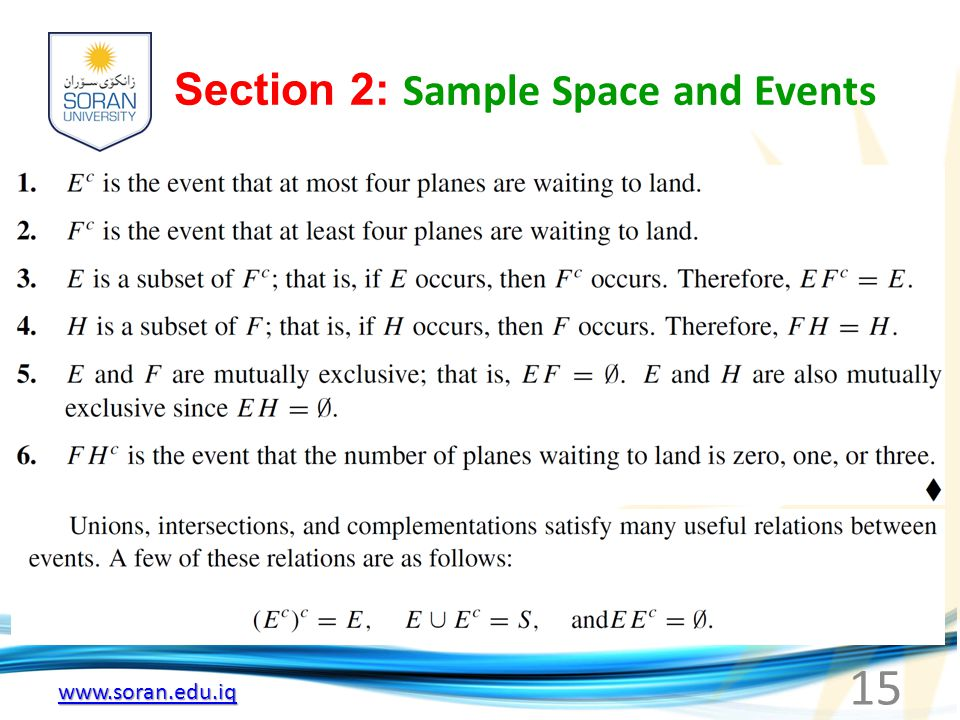 Section 2: Sample Space and Events 15